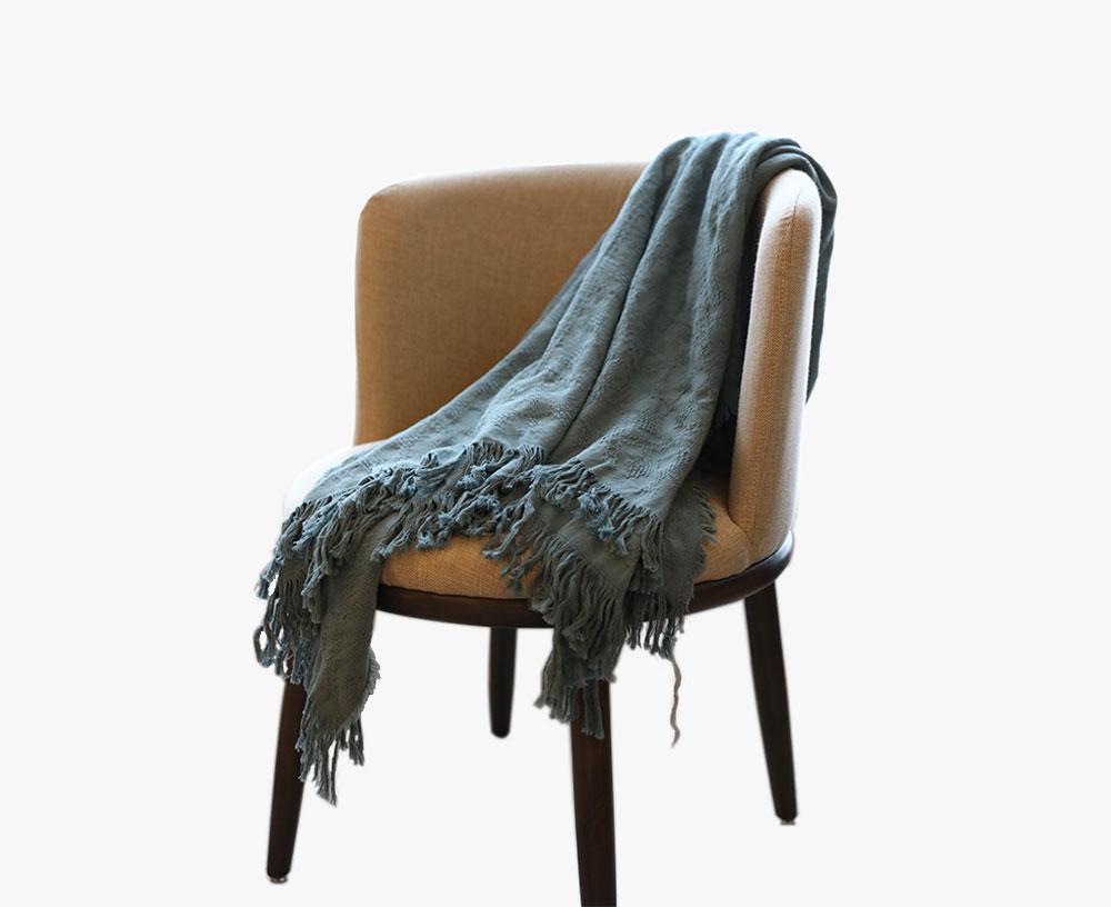 全棉色织流苏毯