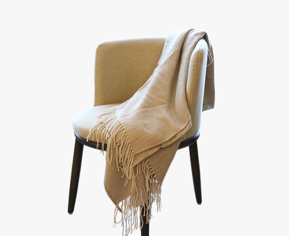 腈纶仿羊毛流苏色织毯